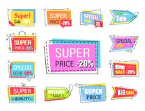 Super Price with 20 Off Promotional Logotypes. Set. Bright rectangles, arrow-shaped figures and small tags with attractive sign vector illustrations stock illustration