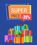 Super Price -20 off Sale Vector Illustration. Super price -20 off sale on poster decorated with gifts in wrapping paper with colorful bows. Vector illustration Stock Photography