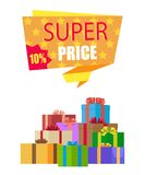 Super Price 10 Off Special Exclusive Offer on New. Collection sale poster piles of gift boxes wrapped in decorative color paper vector illustration stock illustration