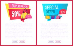 Super Price 50 Off Special Offer Discount Advert. Super price 50 off special offer 30 discount advertisement labels with bags, sale fashionable accessories for Royalty Free Stock Photography
