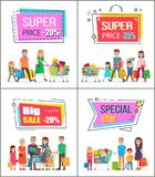 Super Price Off up to 30 Commercial Posters Set. Big families out on shopping with full trolleys crowded with purchases vector illustrations vector illustration