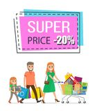 Super Price Promo Sticker Family Shopping Trolley. Super price promo sticker in square shape frame 20 discount sale offer and family mother father and daughter Stock Image