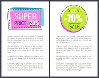Super Price Promo Stickers in Square Round Shape. Super price promo sticker in square and round shape frames 20 70 discount sale offer vector illustration Stock Image