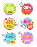 Super Price Reduction Advertisement Emblems Set. Creative discount logotypes in round circle shape, labels on thread and lace vector illustrations vector illustration