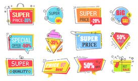 Super Price Reduction Advertisement Emblems Set. Creative discount logotypes in shape of bright ice cream, gift box and diamond vector illustrations stock illustration