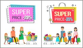 Super Price Reduction for Great Family Shopping. Super price reduction for family shopping promotional poster. Parents and children happy with their new vector illustration