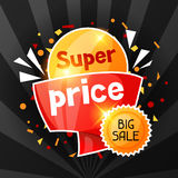 Super price. Sale banner. Advertising flyer for commerce, discount and special offer Royalty Free Stock Photo
