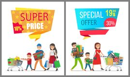 Super Price Special Offer Card Vector Illustration. Super price special offer cards vector illustrations of two smiling families carrying many purchases by hands Royalty Free Stock Images