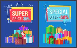 Super Price Special Offer Discounts Off Posters. Super price special offer discounts -30 , -50 off, premium labels in shape of shopping bag with percent signs Stock Photos