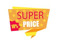 Super Price Ten Percent Card Vector Illustration. Of orange emblame with lot of yellow stars, promotion text, red sticker isolated on white background Stock Photos