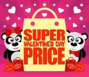 Super Price Valentine's day card with pandas Stock Photos