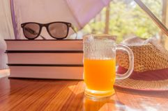 Super Protection from the sun. Sunburn risk concept. Umbrella protecting beautiful woman things. Books, sunglasses, orange juice royalty free stock image