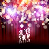 Super przedstawienia plakatowy szablon z bokeh światłami Powitanie, teatr, koncert, muzykalny taniec, prezentacja piękna scena ilustracji