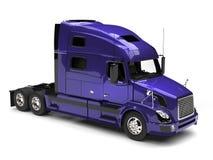 Super purple big semi trailer truck - top down view vector illustration