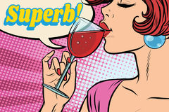 Super reaction. Woman drinking red wine. Comic word superb. Pop art retro vector illustration Stock Photos