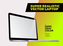 Super Realistic Vector illustration of Aluminum Laptop. Super Realistic Vector illustration of Aluminum Laptop with Blank Screen. Side View of Isolated Mockup Stock Photography