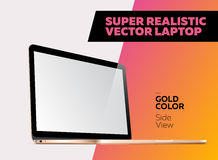 Super Realistic Vector illustration of Aluminum Laptop. Super Realistic Vector illustration of Aluminum Laptop with Blank Screen. Side View of  Mockup for User Stock Images