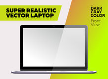 Super Realistic Vector Notebook with Blank Screen. Dark Gray Color. Isolated Mockup with Laptop for Web, Website, User Interface. Front View, Macbook Style Stock Image