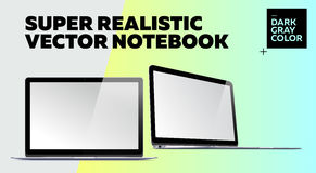 Super Realistic Vector Notebook with Blank Screen. Dark Gray Color.  Mockup with Thin Laptop for Web, Website, User Interface. Front and Side View, Macbook Stock Photography