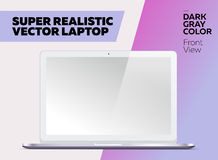 Super Realistic Vector Notebook with Blank Screen. Dark Gray Color, White Display. Isolated Mockup with Laptop for Web, Website, User Interface. Front View Stock Photos