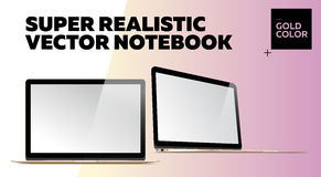 Super Realistic Vector Notebook with Blank Screen. Gold Color.  Mockup with Thin Laptop for Web, Website, User Interface. Front and Side View, Macbook Style Royalty Free Stock Image