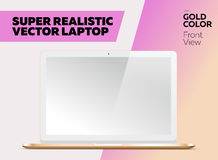 Super Realistic Vector Notebook with Blank Screen. Gold Color, White Display. Isolated Mockup with Laptop for Web, Website, User Interface. Front View, Macbook Royalty Free Stock Image