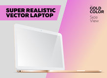 Super Realistic Vector Notebook with Blank Screen. Gold Color, White Display. Isolated Mockup with Laptop for Web, Website, User Interface. Side View, Macbook Stock Photos