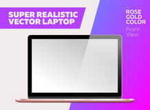Super Realistic Vector Notebook with Blank Screen. Rose Gold Color. Isolated Mockup with Laptop for Web, Website, User Interface. Front View, Macbook Style Royalty Free Stock Images