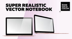 Super Realistic Vector Notebook with Blank Screen. Rose Gold Color.  Mockup with Thin Laptop for Web, Website, User Interface. Front and Side View, Macbook Royalty Free Stock Image