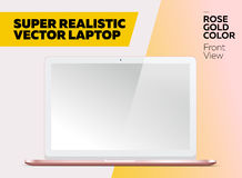 Super Realistic Vector Notebook with Blank Screen. Rose Gold Color, White Display. Isolated Mockup with Laptop for Web, Website, User Interface. Front View Royalty Free Stock Image