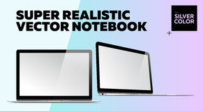Super Realistic Vector Notebook with Blank Screen. Silver Color.  Mockup with Thin Laptop for Web, Website, User Interface. Front and Side View, Macbook Style Royalty Free Stock Photography