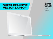 Super Realistic Vector Notebook with Blank Screen. Silver Color, White Display. Isolated Mockup with Laptop for Web, Website, User Interface. Side View Royalty Free Stock Image