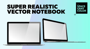 Super Realistic Vector Notebook with Blank Screen. Space Gray Color.  Mockup with Thin Laptop for Web, Website, User Interface. Front and Side View, Macbook Stock Image
