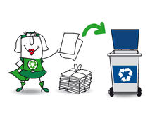 Super recycling girl recycles paper stock photography