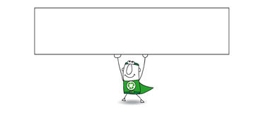 Super Recycling man and his horizontal banner Royalty Free Stock Photography