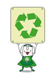 Super Recycling woman and the recycling sign Stock Images
