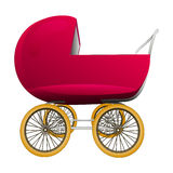 Super retro red baby carriage  Royalty Free Stock Photos