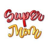 Super rodzinny tekst - Super mama koloru kaligrafia ilustracja wektor