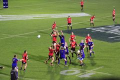 Super Rugby Game Players Line-out Throw Stock Photo