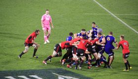 Super Rugby Game Players Scrum Stock Images