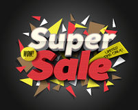 Super Sale with abstract triangle elements. Sale background. Sale tag. Sale poster.   Stock Photos