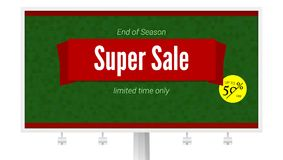Super Sale ad with fifty percent discount on white billboard. Horizontal poster for advertising events of holiday sales. On backdrop from triangles vector illustration