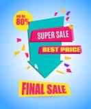Super Sale Arrow Banner Design.. Vector Sale Illustration for Promotional brochure,booklet,poster, shopping flyer, discount banner.Eps 10 Stock Photo
