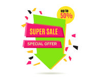 Super Sale Arrow Banner Design. Royalty Free Stock Photography