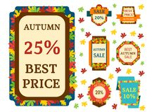 Super sale extra bonus autumn banners text label business shopping internet promotion discount offer vector illustration royalty free illustration