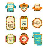 Super sale extra bonus autumn banners text label business shopping internet promotion discount offer vector illustration. Super sale autumn extra bonus leaf royalty free illustration