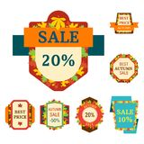 Super sale extra bonus autumn banners text label business shopping internet promotion discount offer vector illustration Stock Photos
