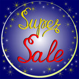Super sale background, custom calligraphy. Stock Photos
