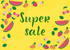 SUPER SALE Lettering design. SUPER SALE background loyout. Lettering design with berry, frame for banner, flyer, invitation, poster, greeting card, discount stock illustration