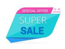 Super Sale Banner. Blue super sale banner, special offer Stock Photo